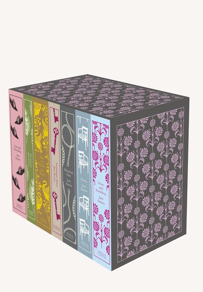 Book Cover:  Jane Austen: The Complete Works: Design by Coralie Bickford-Smith: Senseand Sensibility, Pride and Prejudice, Mansfield Park, Emma, Northanger Abbey, Persuasion, Love and Freindship