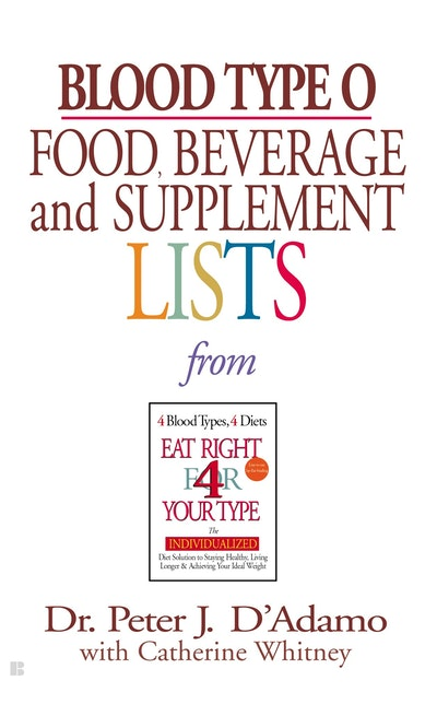Book Cover:  Blood Type O: Food, Beverage & Supplement List